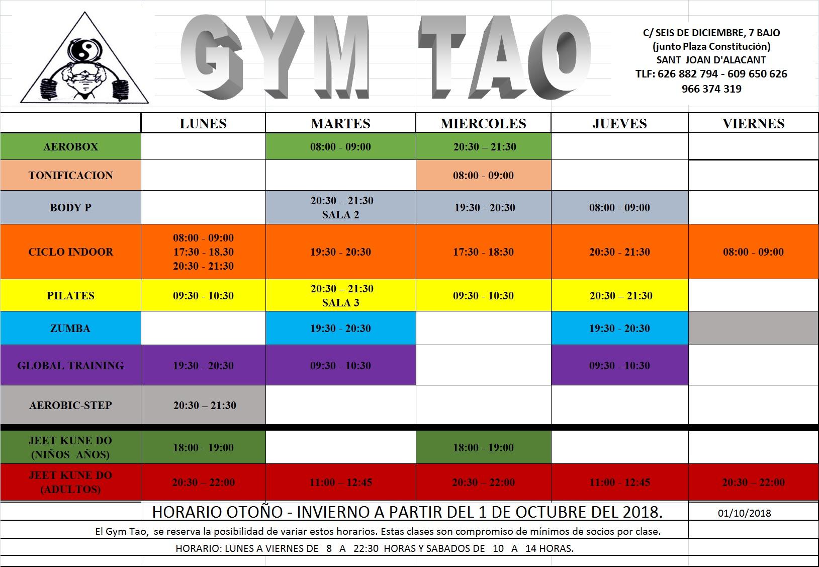 horario gimnasio en san juan alicante